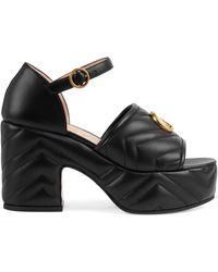 Gucci Matelassé Platform Sandal - Black