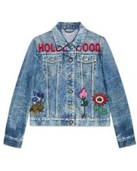Gucci | Embroidered Stained Denim Jacket | Lyst