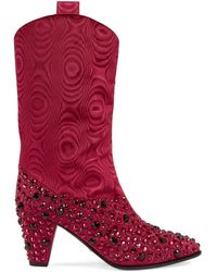 Gucci Boot With Crystals - Red