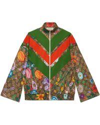 Gucci GG Flora Print Zip-up Jacket - Natural