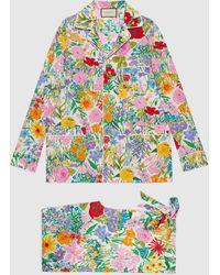 Gucci 【公式】 (グッチ)ケン・スコット プリント シルク パジャマ セットアイボリーホワイト - マルチカラー
