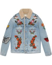 Gucci | Embroidered Denim Jacket With Shearling | Lyst