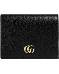 Gucci Porte-cartes en cuir à plaque double G - Noir