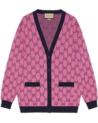 Gucci GG Multicolor Wool Cotton Cardigan - Pink