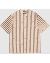 Gucci Bowling Shirt mit Doppel G und Streifen - Weiß