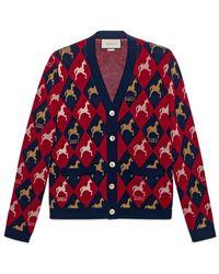 Gucci - Equestrian Wool Jacquard Cardigan - Lyst
