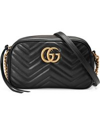 Gucci GG Marmont Small Leather Shoulder Bag - Black