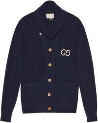 Gucci Cardigan aus Woll Rippstrick mit GG - Blau