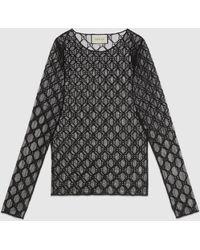 Gucci T-Shirt aus Tüll mit GG Stickerei - Schwarz