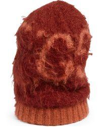 Gucci Gorro de lana de angora con GG - Rojo