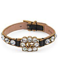 Gucci Armband aus Leder mit Doppel G aus Kristallen - Mehrfarbig
