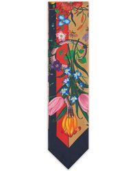Gucci Flora Snake Stripes Print Silk Neck Bow - Natural