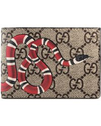 d9a921a3f168 Gucci Kingsnake Print GG Supreme Wallet for Men - Save 21% - Lyst