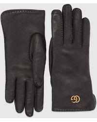 Gucci Doppel G Handschuhe aus Leder - Schwarz