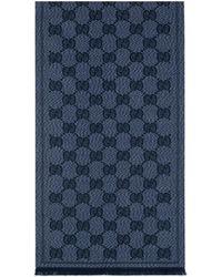 Gucci Bufanda de jacquard de lana con GG - Azul