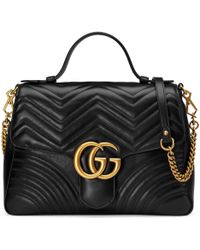 Gucci GG Marmont Medium Top Handle Bag - Black