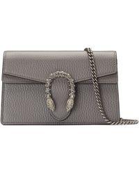 Gucci Dionysus Leather Super Mini Bag - Gray