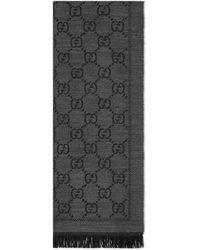Gucci Schal aus strick mit gg jacquard muster - Schwarz