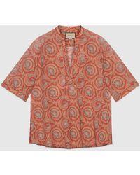Gucci Tunika mit Paisley-Fächer-Print - Orange