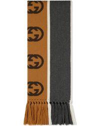 Gucci Scarf With Interlocking G Stripe - Gray