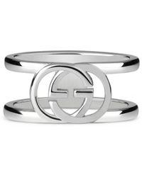 Gucci Interlocking G Motif Wide Ring  - Metallic