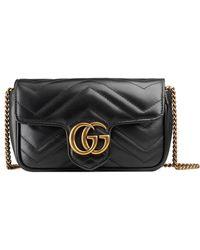 Gucci Bolso de Hombro GG Marmont Mediano de Matelassé - Negro