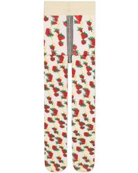 Gucci Tights With Strawberry And Horsebit Print - Multicolour