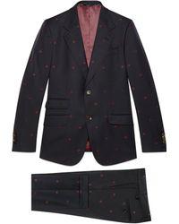 Gucci - Costume Heritage en gabardine de laine avec abeille - Lyst