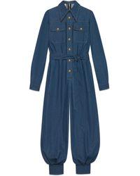 Gucci Denim-Jumpsuit mit Gürtel - Blau