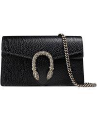 Gucci Dionysus Leather Super Mini Bag - Black