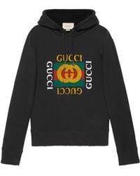 Gucci Sudadera De Algodón Con Logo Estampado Y Capucha - Negro