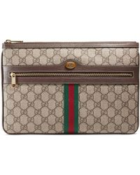 Gucci Ophidia GG Supreme Pouch - Natural