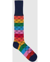 Gucci GG Multicolor Cotton Blend Socks - Red