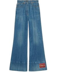Gucci Washed Denim Flare Pants With Label - Blue