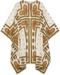 Gucci Floral Print Cotton Short Kaftan Dress - White