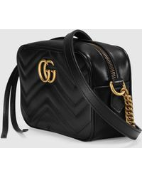 Gucci Mini-Tasche GG Marmont aus Matelassé - Schwarz