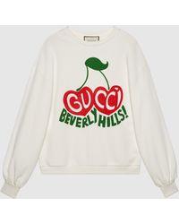 "Gucci - 【公式】 (グッチ) ""beverly Hills"" チェリー プリント スウェットシャツオフホワイト コットンジャージーホワイト - Lyst"
