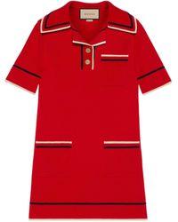 Gucci Vestido tipo polo de punto de algodón fino - Rojo