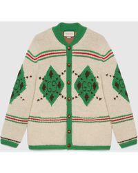 Gucci 【公式】 (グッチ)アルパカウール ジャカード カーディガンアイボリー&グリーンホワイト
