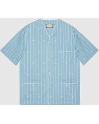 Gucci - 【公式】 (グッチ)ダブルg ストライプ コットン オーバーサイズシャツライトブルー&アイボリーブルー - Lyst