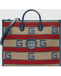 Gucci Porto Cervo Shopper mit Streifenmuster - Natur