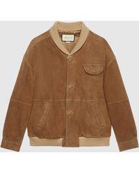 Gucci - グッチスエード オーバーサイズ ボンバージャケット - Lyst