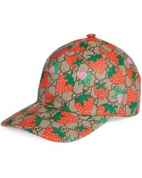Gucci GG Baseball Hat With Strawberry - Natural