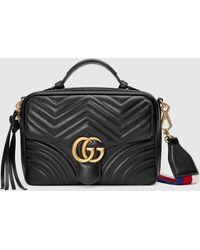 Gucci GG Marmont Schultertasche aus Matelassé-Leder - Schwarz