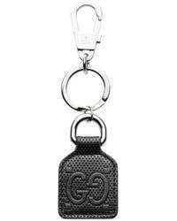 Gucci Schlüsselanhänger aus geprägtem GG Leder - Schwarz