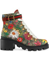 Gucci GG Flora Ankle Boot - Natural