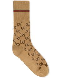 Gucci - Chaussettes beiges GG - Lyst