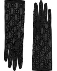 Gucci Tulle Gloves With GG Motif - Black