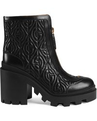 Gucci G Rhombus Leather Mid-heel Ankle Boot - Black