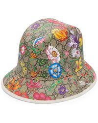 Gucci GG Filzhut mit Flora Print - Natur